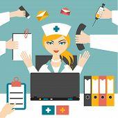 stock photo of multitasking  - Multitasking Woman Nurse Hard Working - JPG