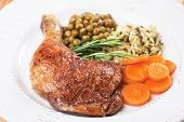 picture of pea  - Roasted chicken legs with rice and green peas - JPG