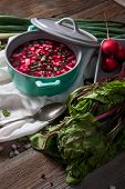 picture of chives  - Beetroot soup with chives and radishes on the boards - JPG