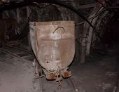 pic of trolley  - Empty mine trolley in mines - JPG