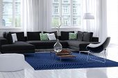 picture of settee  - Bright airy modern living room interior with white walls and wooden floor - JPG
