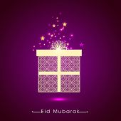 stock photo of gift wrapped  - Beautiful floral design decorated wrapped gift box on stars decorated shiny purple background for Islamic holy festival - JPG