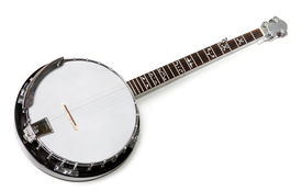 stock photo of musical instrument string  - banjo isolated on a white background - JPG