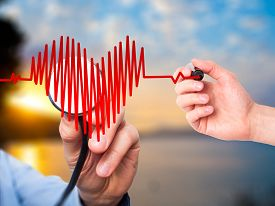 pic of beating-heart  - Closeup portrait doctor hand listening to heart beat in heart shape with stethoscope - JPG