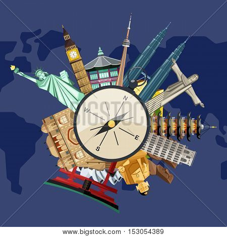 poster of Worldide travel and tourism concept flat vector. Famous world buildings. World travel landmark and famous travel place. Vacation travel architecture in cartoon style. World travel background. Travel tour banner. Travel background for traveling agency.