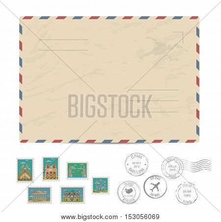 poster of Blank postal envelope with postage stamps and postmarks on white background vector illustration. Stamps set with world famous architectural composition. Postal services. Envelope delivery. Gift envelope. Souvenir of trip. Travel souvenir. Envelope layout.