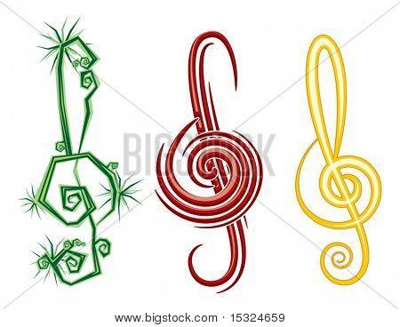 Постер, плакат: Различные музыкальные стили регги поп джаз Векторный дизайн скрипки скрипичный ключ, холст на подрамнике