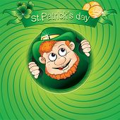 St.Patrick`s day card with fun leprechaun