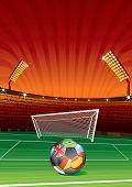 Постер, плакат: Футбол фон с стадион цели и национальные мяч id 54626386 вектор