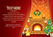 picture of cozy hearth  - Vector Background with decorated Home room - JPG