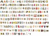 Colorful alphabet with letters torn from newspapers and magazines, rough edges, messy look,  perfect