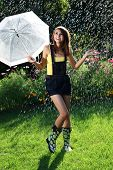 stock photo of dancing rain  - Dancing in the rain - JPG