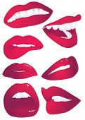 7 lips expressions. Vector illustration