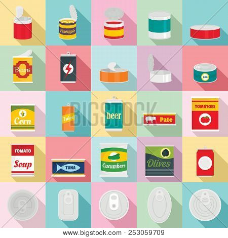 poster of Tin Can Food Package Jar Icons Set. Flat Illustration Of 25 Tin Can Food Package Jar Icons For Web