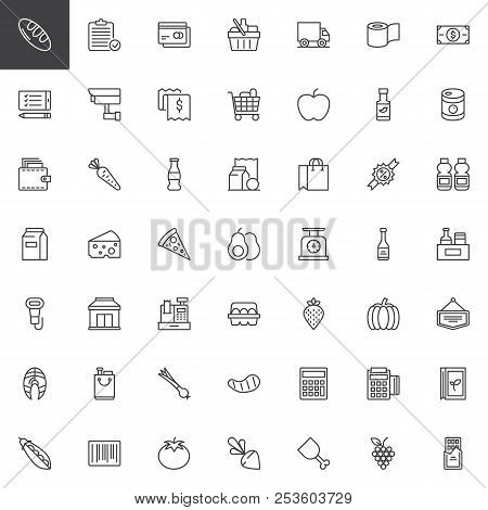 Grocery Products Outline Icons Set