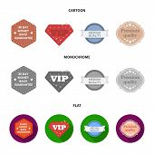 Money Back Guarantee, Vip, Medium Quality, Premium Quality.label, Set Collection Icons In Cartoon, F poster