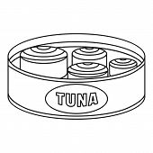 Open Tuna Can Icon. Outline Open Tuna Can Icon For Web Design Isolated On White Background poster