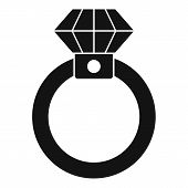 Diamond Ring Icon. Simple Illustration Of Diamond Ring Icon For Web Design Isolated On White Backgro poster