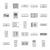 Conditioner Air Filter Vent Remote Icons Set. Outline Illustration Of 25 Conditioner Air Filter Vent poster