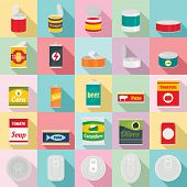 Tin Can Food Package Jar Icons Set. Flat Illustration Of 25 Tin Can Food Package Jar Icons For Web poster