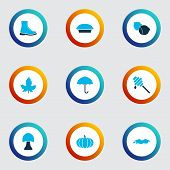 Season Icons Colored Set With Maple, Puddle, Honey And Other Tart Elements. Isolated Vector Illustra poster