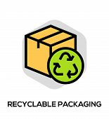Recyclable Packaging Vector Flat Line Icon. Vector Concept For Web Graphics poster