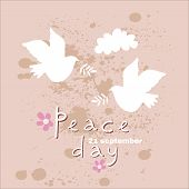 International Day Of Peace- Template Poster, Banner. Concept Illustration With Dove Of Peace, Olive  poster