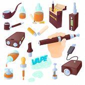 Cartoon Electronic Cigarettes Icons Set. Universal Electronic Cigarettes Icons To Use For Web And Mo poster