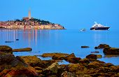 Rovinj, Istria, Croatia. Antique medieval old town at Adriatic sea. Calm summer morning with blue sk poster