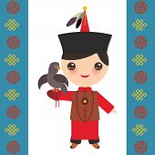 Mongolian Boy In National Costume And Hat. Cartoon Children In Traditional Dress. Hunter, Hunting Wi poster