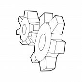Cogwheels Icon In Outline Style On A White Background poster