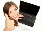 Постер, плакат: Ноутбук женщина счастливы