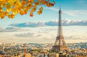 Famous Eiffel Tower Landmark And Paris Old Roofs At Fall Day, Paris France, Toned poster