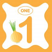 Number 1 (one), Educational Card, Learning Counting With Vegetables, Mathematics. Vector Illustratio poster