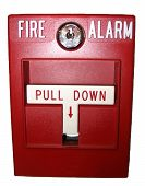 image of fire-station  - fire alarm pull station on white background - JPG