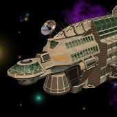 picture of starship  - futuristic starship in space with Clipping Path - JPG