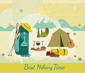 Tourist Trip Icon Set. Minimalist Flat Design Style. Mountains Snow Peak, Hiking Boots Pole Silhouet poster