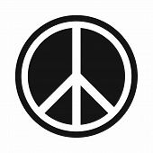 Sign Hippie Peace Icon In Simple Style Isolated On White Background. People Symbol poster