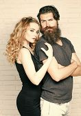 Hipsterism, Subculture, Trend. Man With Beard And Woman With Long Blond Hair. Fashion, Beauty, Style poster
