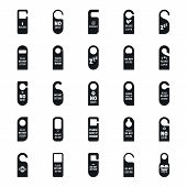 Hanger Tags Door Card Hotel Icons Set. Simple Illustration Of 25 Hanger Tags Door Card Hotel Icons F poster