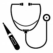 Stethoscope, Thermometer Icon. Simple Illustration Of Stethoscope, Thermometer Icon For Web Design I poster