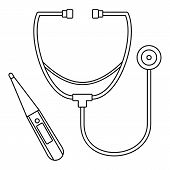 Stethoscope, Thermometer Icon. Outline Illustration Of Stethoscope, Thermometer Icon For Web Design  poster