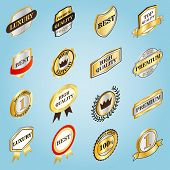 Isometric Golden Labels Icons Set. Universal Golden Labels Icons To Use For Web And Mobile Ui, Set O poster