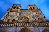 Notre Dame De Paris Church Cathedral, At Night, Photo Image A Beautiful Panoramic View Of Paris Metr poster