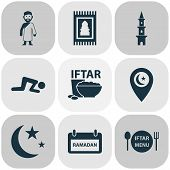 Religion Icons Set With Rug, Menu, Mubarak And Other Kareem Elements. Isolated Vector Illustration R poster