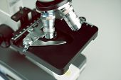 Close Up Of Old Vintage Of Microscope With Metal Lens And Science Equipment At Laboratory Research D poster