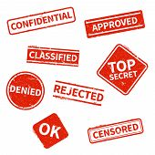 Top Secret, Rejected, Approved, Classified, Confidential, Denied And Censored Red Grunge Business St poster