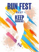 Run Fest Best Design, Keep Running, Colorful Poster Template For Sport Event, Marathon, Championship poster