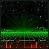 Futuristic Retro Landscape Of The 80`s. Vector Futuristic Illustration Of Sun With Mountains In Retr poster