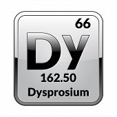 Dysprosium Symbol.chemical Element Of The Periodic Table On A Glossy White Background In A Silver Fr poster